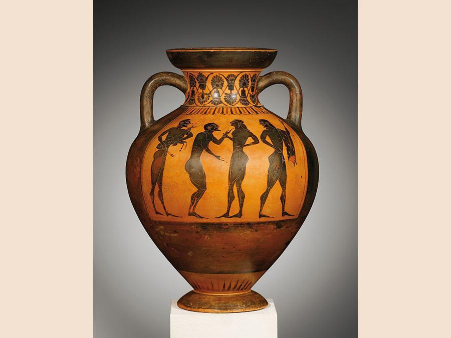 Anfora con figure nere, 38 cm di altezza, Grecia attica 550-540 avanti Cristo, Galerie Cahn AG