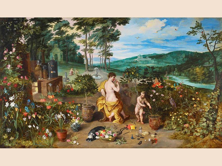 Jan Breughel il giovane (Anversa 1601-1678), le printemps ou l'Allegorie de l'Odorat, 1940, olio su legno, 53x89 cm. Galerie Florence de Voldère