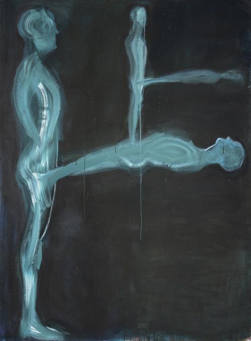 Cosmoscow 2019, Jaan Toomik (1961),Family III, 2014, Acrilico su tela 190 X 140 Cm,(prezzi oscillano da 9-28 mila euro). Artista  Temnikova  Kasela Gallery (Tallin)