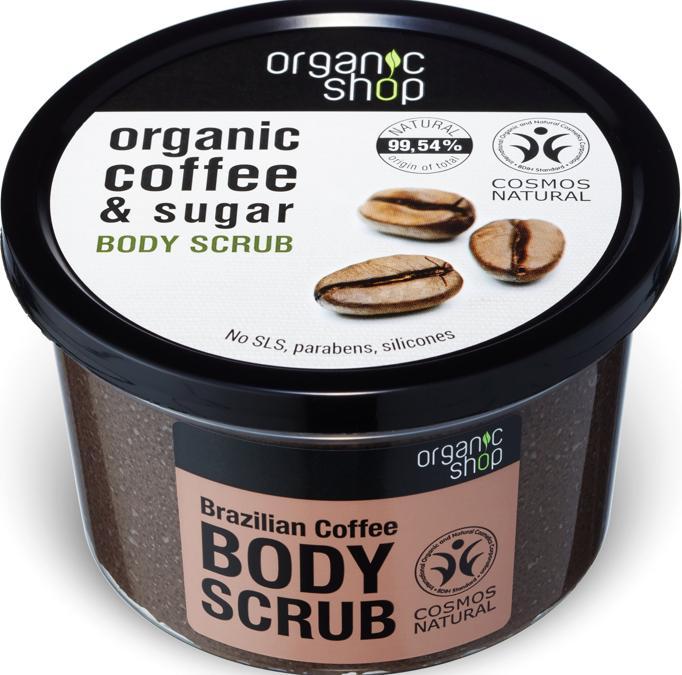 Organic Shop Scrub Corpo al caffè, a base di olio di caffè biologico e canna da zucchero, questo delicato peeling rimuove le cellule morte e lascia una pelle liscia e setosa