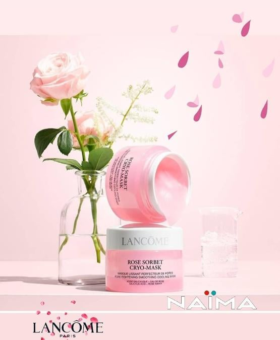 Rose Sorbet Cryo-Mask di Lancôme, una crio maschera che contiene acido salicilico, acqua di rosa ed estratto di olmaria, per levigare e perfezionare la pelle del viso in soli 5 minuti.