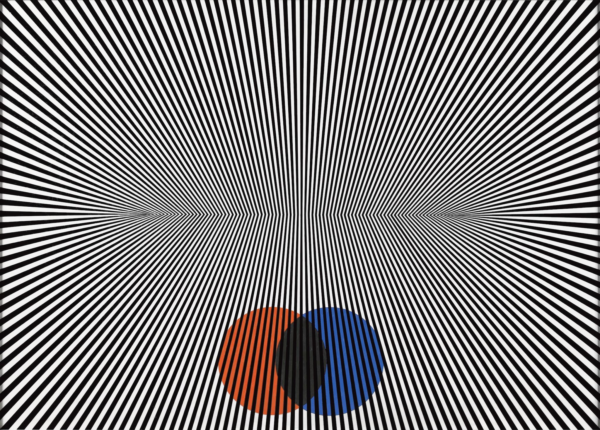 Franco Grignani, Grandangolare, 1965, tecnica mista su cartone Schoeller, 75x104 cm (Collezione privata, © Matteo Zarbo)