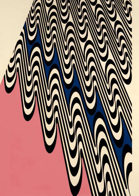Franco Grignani, Proiezione ondulata, 1965, olio su tela, 96x 34 cm (Collezione privata, © Matteo Zarbo)