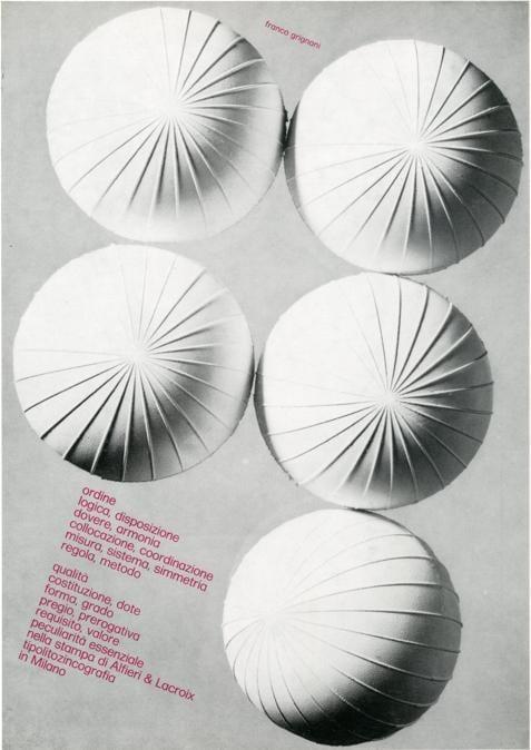 Franco Grignani, Pagina pubblicitaria Alfieri & Lacroix, 1969, stampa offset, 27,5x21 cm (Archivio Aiap)