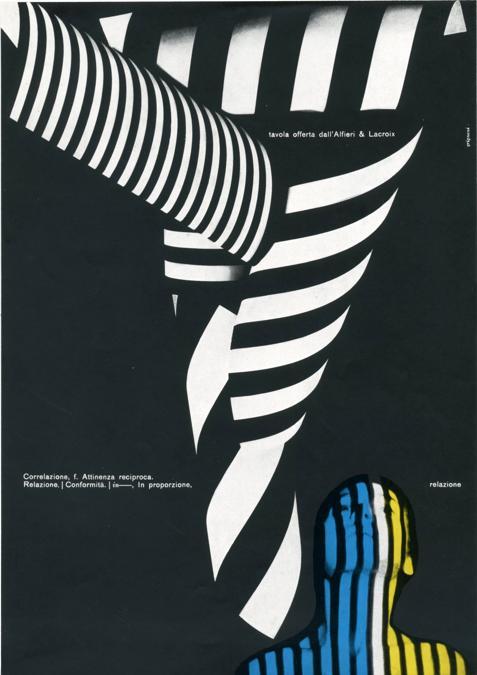 Franco Grignani, Pagina pubblicitaria Alfieri & Lacroix, 1959, stampa offset, 27,5x21 cm (Archivio Aiap)