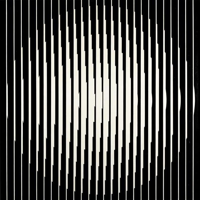 Franco Grignani, Vibrazione induttiva, 1965, olio su tela, 96x96 cm (Collezione privata, © Matteo Zarbo)
