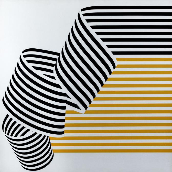 Franco Grignani, Dissociazione dal bordo, 1969, tempera acrilica, 70x70 cm (Collezione privata, © Matteo Zarbo)