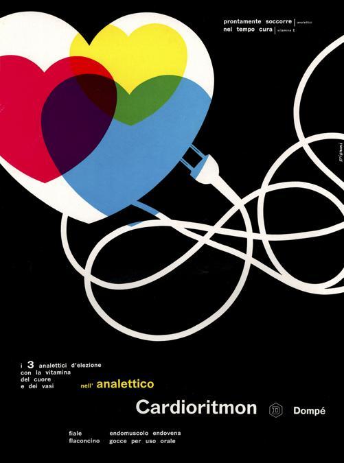 Franco Grignani, Pubblicità Cardioritmon, Dompé Farmaceutici, 1956, stampa offset, 32,5x23,7 cm (Archivio Manuela Grignani Sirtoli, © Matteo Zarbo)