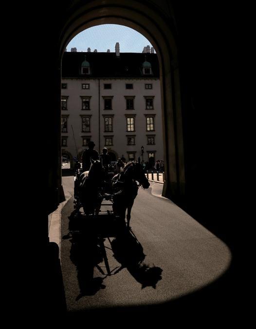 I turisti fanno un giro in carrozza tradizionale Fiaker vicino al palazzo di Hofburg nel centro di Vienna. REUTERS/Leonhard Foeger