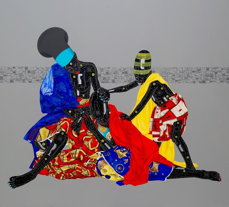 Eddy Kamuanga Ilunga, Oubilez le passé et vous perdez les deux yeux (2016), tecnica mista, Courtesy of the artist and October Gallery