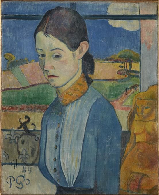 Paul Gauguin, Young Breton Woman, 1889. Oil on canvas, 46 × 38 cm. Private collection.  Photo courtesy of the owner