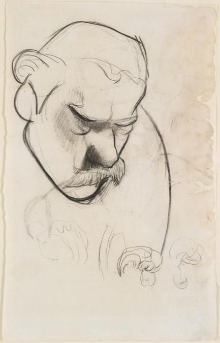 Paul Gauguin, Portrait of Meijer de Haan, about 1889-90. Charcoal, 31 x 19.4 cm. Private Collection, Dr Richard and Astrid Wolman.  Photo courtesy of the owner