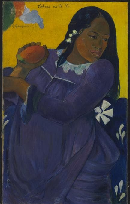 Paul Gauguin, Vahine no te vi (Woman with a Mango), 1892. Oil on canvas, 72.7 × 44.5 cm. The Baltimore Museum of Art. The Cone Collection, formed by Dr. Claribel Cone and Miss Etta Cone of Baltimore, Maryland; BMA 1950.213. The Baltimore Museum of Art / Photo: Mitro Hood.