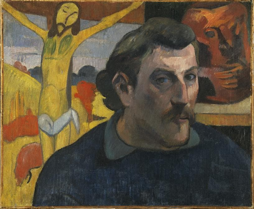 Paul Gauguin, Self Portrait with Yellow Christ, 1890-1891. Oil on canvas, 38.1 x 45.7 cm. Musée d'Orsay, Paris. Acquired by the Musées nationaux with the participation of Philippe Meyer and a Japanese patron, coordinated by the newspaper Nikkei, 1994 (RF 1994-2). (RF 1994 2).  RMN-Grand Palais (musée d'Orsay) / René-Gabriel Ojéda
