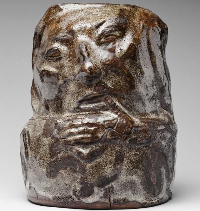 Paul Gauguin, Anthropomorphic Pot, 1889. Enamelled sandstone, 28.4 × 21.5 cm. Musée d'Orsay, Paris. Gift of Jean Schmit, 1938 (OA 9050).  RMN-Grand Palais (musée d'Orsay) / Hervé Lewandowski