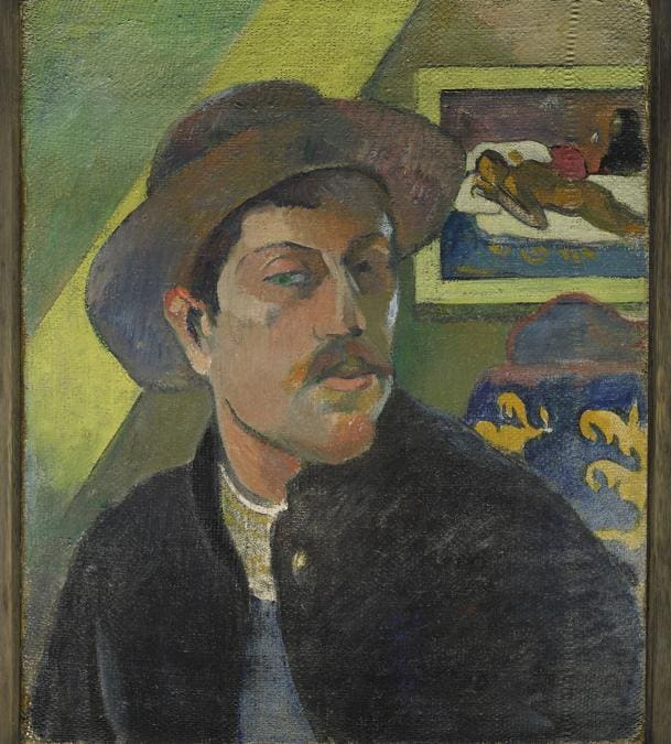 Recto.Paul Gauguin, Self Portrait with Manao tupapau (front) . Portrait of William Molard (back, upside down), 1893-1894. Diptych- oil on canvas, 46 × 38 cm. Musée d'Orsay, Paris. Acquired with the assistance of an anonymous Canadian donation, 1966 (RF 1966-7).  RMN-Grand Palais (musée d'Orsay) / Franck Raux