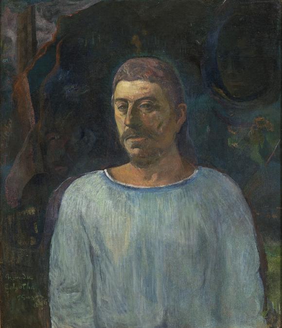 Paul Gauguin, Self portrait near Golgotha, 1896. Oil on canvas, 75.5 × 63 cm.  Museu de Arte de São Paulo Assis Chateaubriand, São Paulo, Brazil (Inv. 108 P)