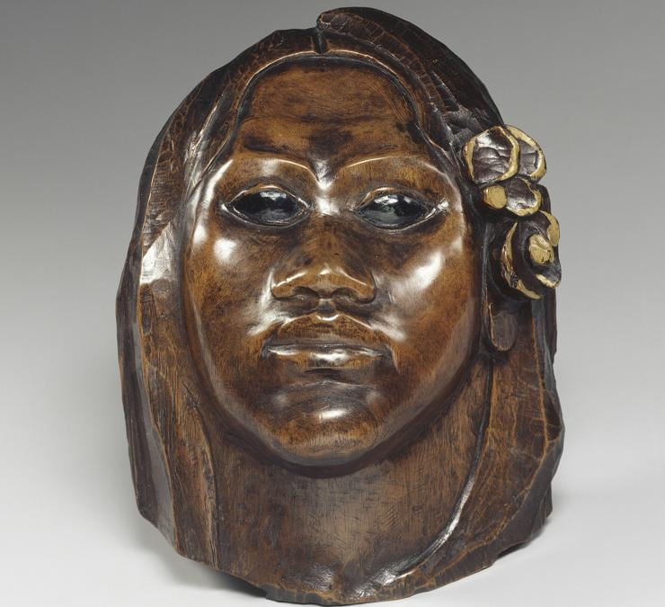 Paul Gauguin, Tehura (Teha'amana), 1891-1893. Coloured wooden mask22.2 × 7.8 × 12.6 cm. Musée d'Orsay, Paris. Gift of Madame Huc de Monfried, 1951 (OA 9528).  RMN-Grand Palais (musée d'Orsay) / Gérard Blot