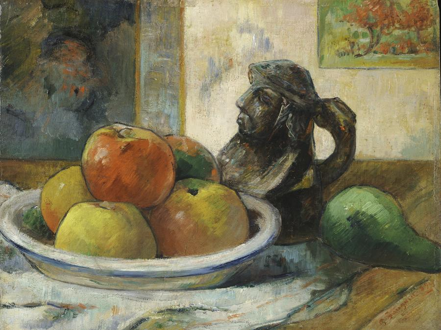 Paul Gauguin, Still Life with Apples, a Pear, and a Ceramic Portrait Jug, 1889. Oil on cradled paper, 28.6 × 36.2 cm. Harvard Art Museums/Fogg Museum. Gift of Walter E. Sachs 1958.292. Photo: Imaging Department  President and Fellows of Harvard College