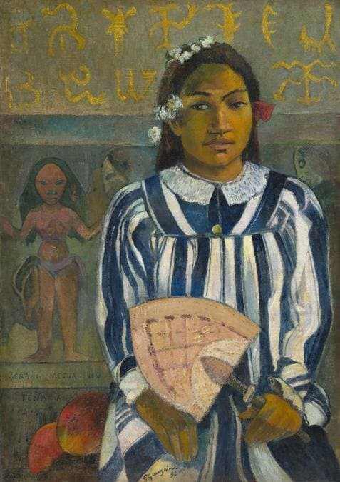 Paul Gauguin, The Ancestors of Tehamana or Tehamana Has Many Parents (Merahi metua no Tehamana),  1893. Oil on canvas, 76.3 × 54.3 cm. The Art Institute of Chicago. Gift of Mr. and Mrs. Charles Deering McCormick 1980.613.  The Art Institute of Chicago