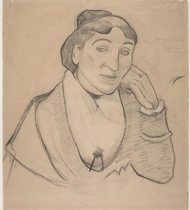 Paul Gauguin, L'arlésienne, Mme Ginoux, 1888. Beige Chalk under charcoal with stumping, with salmon-colored pastel, heightened with white chalk on beige wove paper, 56.1 × 49.2 cm. Fine Arts Museums of San Francisco, California. Memorial gift from Dr. T. Edward and Tullah Hanley, Bradford, Pennsylvania, 69.30.78.  Fine Arts Museums of San Francisco, California