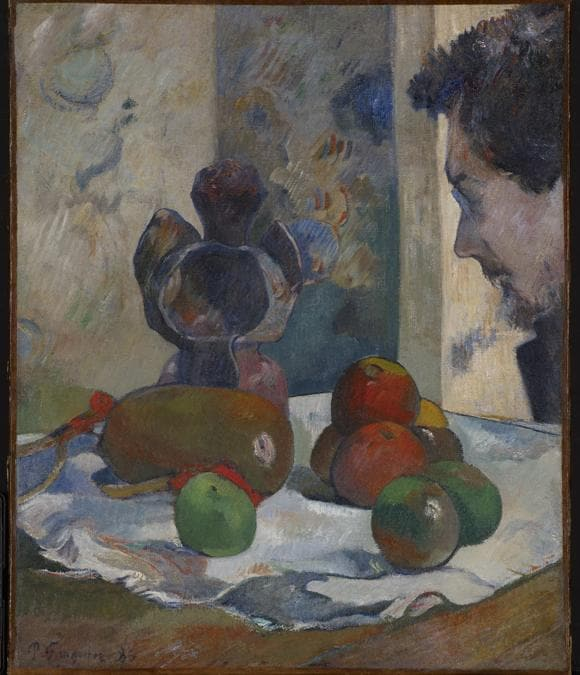 Paul Gauguin, Still Life with Profile of Laval, 1886. Oil on canvas 46 × 38 cm. Indianapolis Museum of Art. Samuel Josefowitz Collection of the School of Pont-Aven, through the generosity of Lilly. Endowment Inc., the Josefowitz Family, Mr. and Mrs. James M. Cornelius, Mr. and Mrs. Leonard J. Betley, Lori and Dan Efroymson, and other Friends of the Museum, 1998.167. Image courtesy of Indianapolis Museum of Art at Newfields