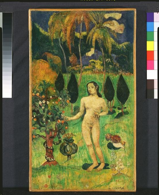 Paul Gauguin, Exotic Eve, 1890. Watercolour on paper, 42.8 × 25.1 cm. Pola Museum of Art, Hakone.  Photo courtesy of the owner