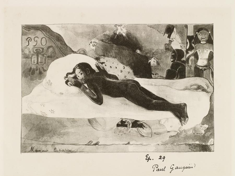 Paul Gauguin, Manao Tupapau (The Spirit of the Dead Watching), 1894. Lithograph on stone in pen, crayon and wash, 18 × 27.1 cm.  National Gallery of Canada (9065)