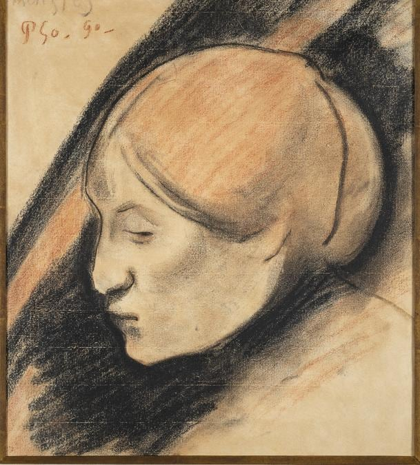 Paul Gauguin, Portrait of Annette Belfils, 1890. Conté crayon and red chalk. Frame: 59 × 56. Private collection (94/04).  Photo courtesy of the owner