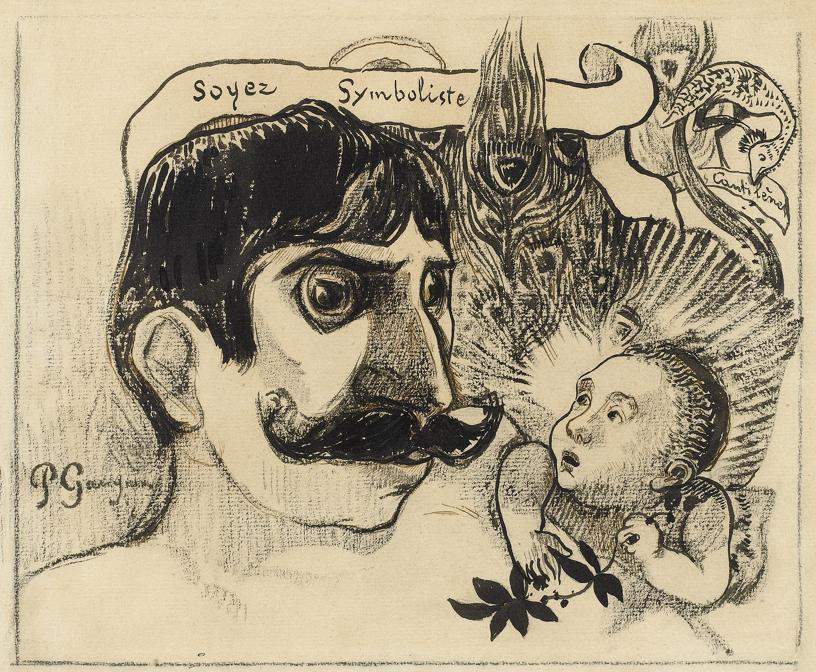 Paul Gauguin, Be Symbolist: Portrait of Jean Moréas, 1890-1891. Brush and pen and ink, 25.4 × 28.2 cm. Talabardon & Gautier, Paris.  Photo courtesy of the owner