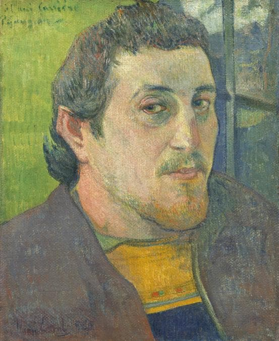 Paul Gauguin, Self-Portrait Dedicated to Carrière, 1888 or 1889. Oil on canvas, 46.5 × 38.6 cm. National Gallery of Art, Washington, DC. Collection of Mr. and Mrs. Paul Mellon, 1985.64.20. Image courtesy of the Board of Trustees, National Gallery of Art, Washington, DC.