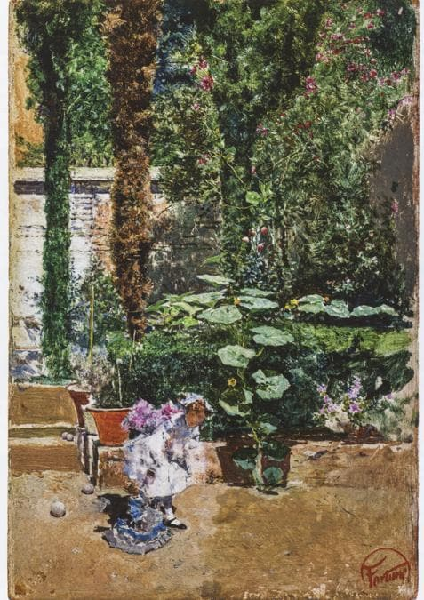 Mariano Fortuny y MarsalMaria Luisa, figlia dell'artista, nel giardino della casa Fortuny a Granada1872-1874 Olio su tela - Collezione Vida Muñoz - 19 x 13 cm