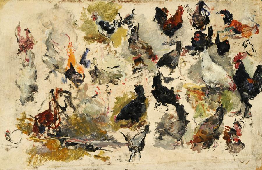Mariano Fortuny y MarsalStudio di galli  - dopo il 1869  - Olio su legno - Fondazione Musei Civici di Venezia-Museo Fortuny - 17,5 x 27 cm