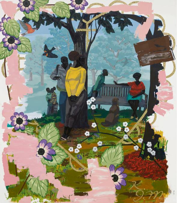 Lot 19. Kerry James Marshall. Vignette 19. signed with the artist's initials and dated 2014, acrylic on PVC, 71 3/4 by 60 in. 182.2 by 152.4 cm. Estimate $6.5/7.5 million. Sold for $ 18,488,000