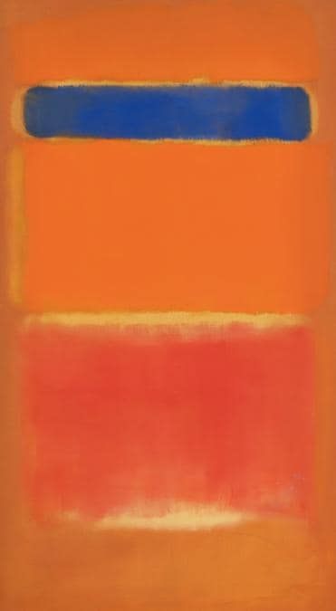Lot 26. Property from an Important and Distinguished European Collection. Mark Rothko. Blue Over Red . Signed and dated 1953 on the reverse. Oil on canvas, 64 by 35 in. 162.6 by 88.9 cm. Estimate $25/35,000. Sold for $26,461,000