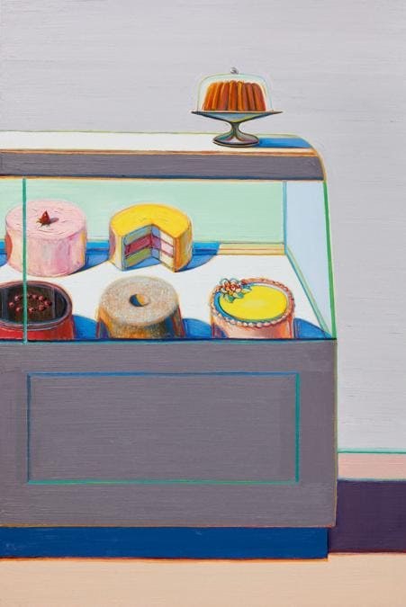 Lot 30. Property from an Important American Collection. Wayne Thiebaud. Encased Cakes. signed and dated 2011; signed and dated 2010/2011 on the reverse, oil on canvas, 72 by 48 in. 182.9 by 121.9 cm.Estimate $6/8 million. Sold for $8,464,800. RECORD FOR THE ARTIST AT AUCTION