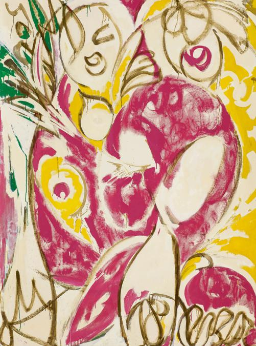 Lot 36. Property from an Important Private American Collection. Lee Krasner.Sun Woman I. signed oil on canvas, 97 ¼ by 70 ¼ in. 247 by 178.4 cm. Executed in 1957..Estimate $6/8 million. Sold for $ 7,382,750