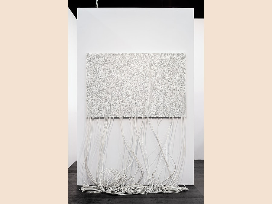 Mounir Fatmi, Roots 10, 2018, Coaxial antenna cable and staples on board, 170 x 90 x 5 cm, opera unica, Courtesy Officine dell'Immagine