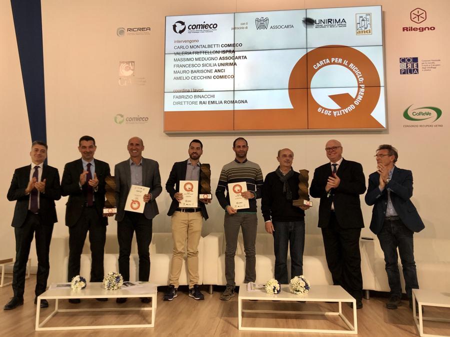 Ecomondo, premiazione Carta per il riciclo di Comieco, Assocarta e Unirima