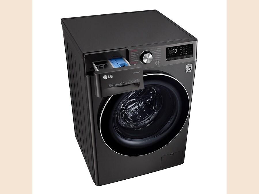 LG, Vivace Steam, F4DV910H2S, lavasciuga a pompa di calore da 10,5 kg,Classe A, ha un sistema evoluto che rileva non solo il peso ma anche le tipologie dei tessuti, dotata di cicli antiallergia e antipiega con il vapore, e di autodiagnosi ed è controllabile via App in remoto. Predisposta per essere gestita a voce con Alexa