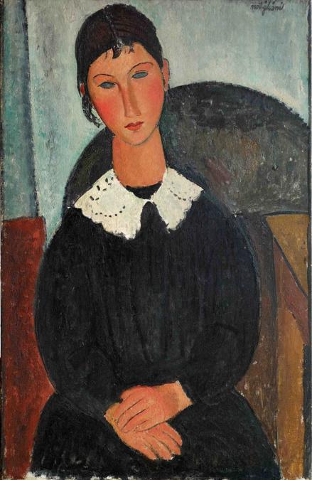 Amedeo Modigliani (Livorno,1884 - Paris, 1920); Elvire au col blanc (Elvire à la collerette), 1917 o 1918; olio su tela, 92x65cm; collezione Jonas Netter