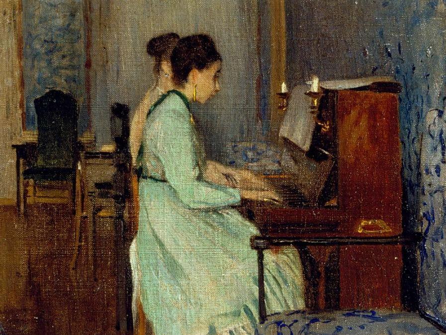 Lezione di pianoforte.
