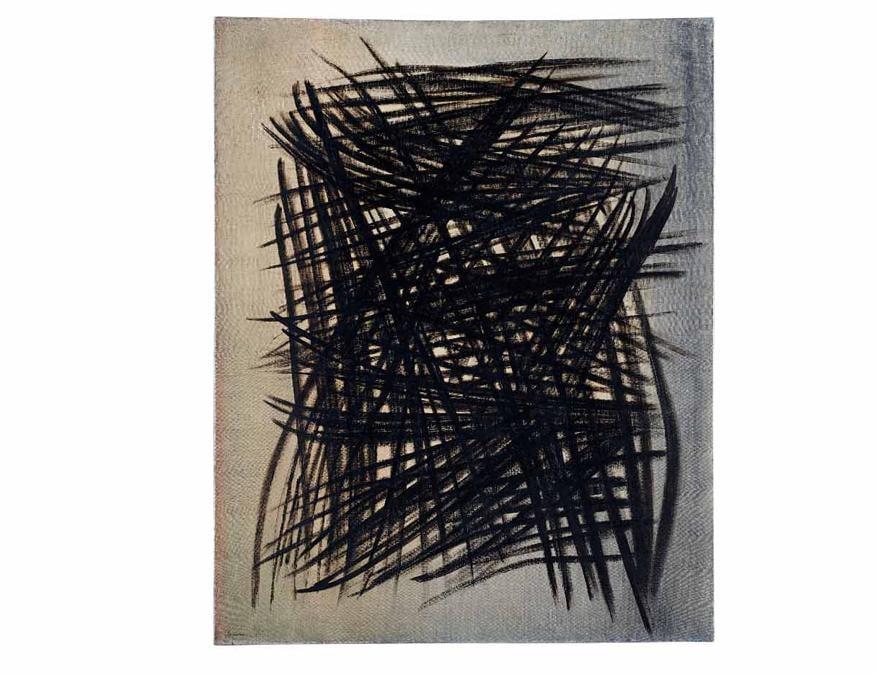 Asta 467 / lotto n. 56, Hans Hartung, «T1955-16», 1955, olio su tela, cm 81x65, valutazione 150.000-250.000 €