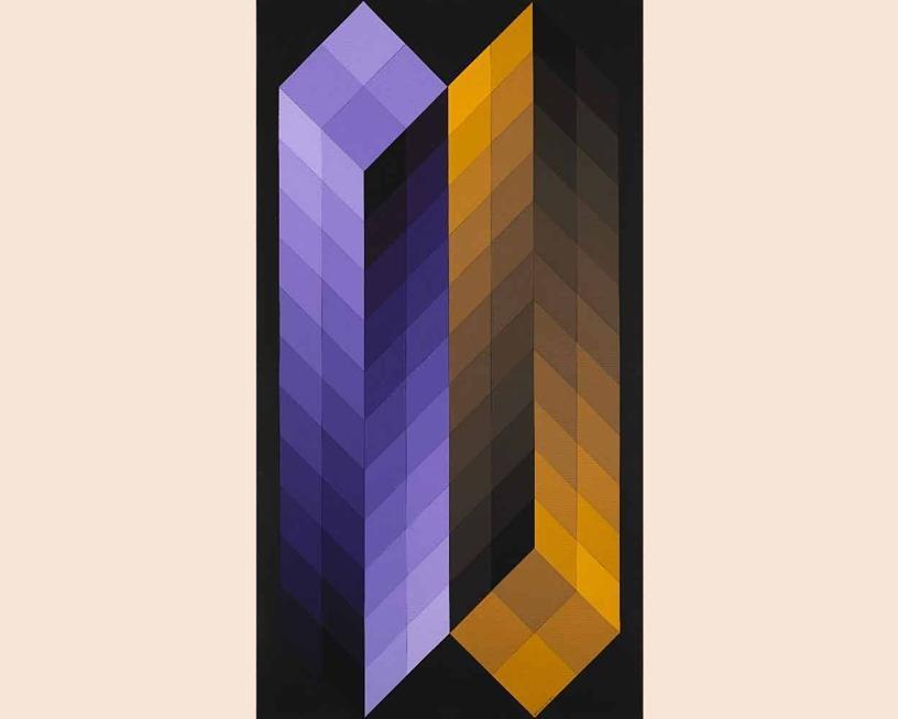 Asta 467 / lotto n. 70, Victor  Vasarely,  «TRIDIM FF», 1968, acrilico su tela applicata su tavola, cm 118x64, valutazione 30.000 - 35.000 €