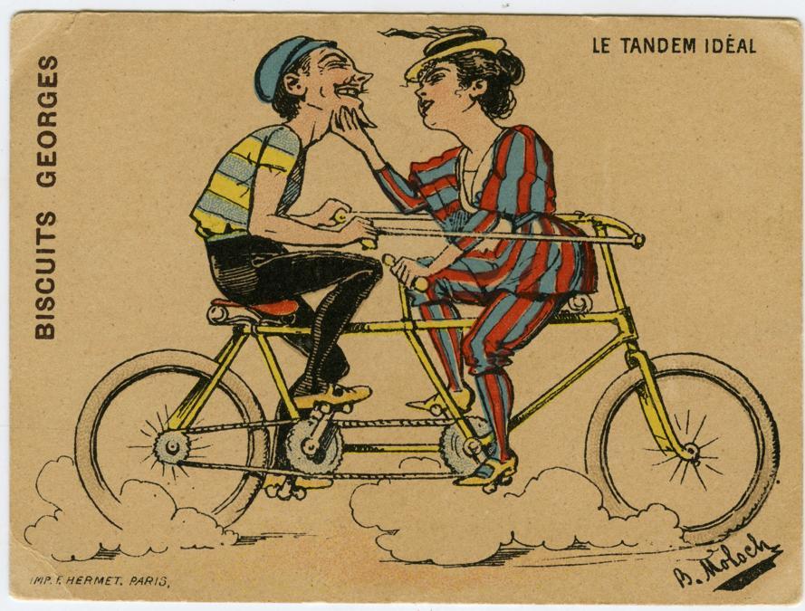 Il tandem ideale, ca. 1900. Su disegni di B. Moloch (Alphonse Hector Colomb). Pubblicità varie. Dalla serie di 12 figurine Scene comiche con biciclette (Courtesy Comune di Modena, Collezione Museo della Figurina -Fondazione Modena Arti Visive)