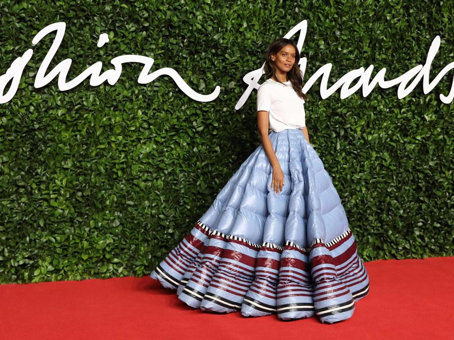 Liya Kebede in 1 Moncler Pierpaolo Piccioli (Photo by ISABEL INFANTES / AFP)