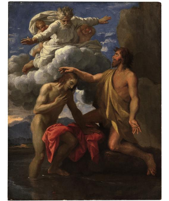 Lotto 16 - Nicolas Poussin, The Baptism of Christ, oil on cypress panel -   £1,815,000 ($2,366,578) (€2,145,156) - £1,500,000 - 2,000,000