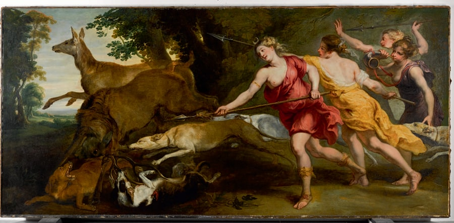 Lotto 19 - Studio of Sir Peter Paul Rubens, Diana and her nymphs hunting, oil on canvas - £1,695,000 ($2,210,110) (€2,003,327)  - £300,000 - 500,000