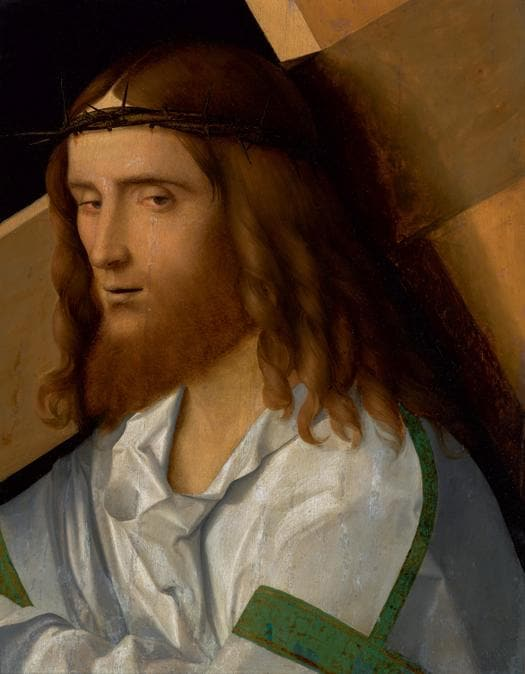 Lotto 5 - Giovanni Bellini, Christ carrying the Cross, oil on panel -   £795,000 ($1,036,600) (€939,614) - £150,000 - 200,000