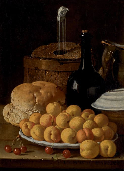 Lotto 33 - Luis Meléndez, Still life with a plate of apricots, cherries, bread, a wine cooler and receptacles, oil on canvas - £735,000 ($958,366) (€868,699) - £600,000 - 800,000